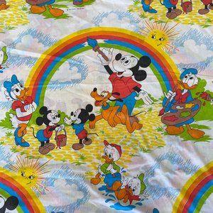 VTG Disney Mickey Mouse Donald Duck Flat Sheet